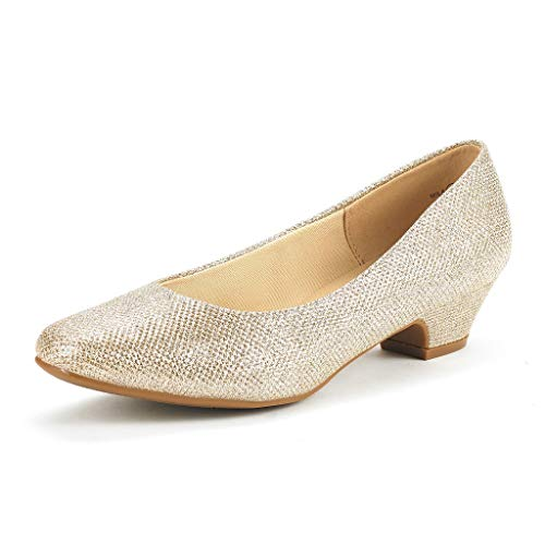 DREAM PAIRS Women's Mila Gold Glitter Low Chunky Heel Pump Shoes Size 10 M US