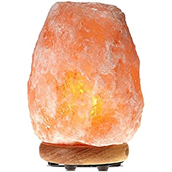 WBM 1002 Himalayan Glow large Salt lamp night light .ETL Certified himalayan pink salt lamp with Neem Wood Base /salt lamp light bulbs and Dimmer Control, Crystal, 7- 10-Inch, 8 - 11 LBS