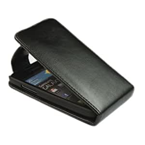 Viesrod Pouch Leather Flip Skin Case Cover for Samsung Galaxy S Advance I9070 Black + 1 gift