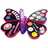VikriDa Girl's All-in-One Cosmetic and Real Makeup Palette with Mirror, Pretend Play Toy Make Up Case Kit, Safety Tested, Non-Toxic, Washable, Comes in Butterfly CASE