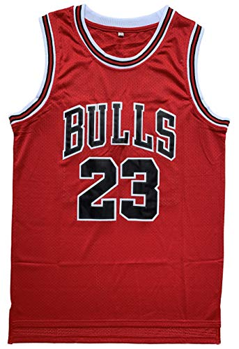 4c761650c620 Michael  23 Basketball Jersey Mens Retro Athletics Jersey Red White  Black Strip S-XXXL (Red