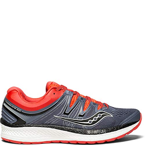 Saucony Women's Hurricane ISO 4 Running Shoe, Grey/Black/Vizi RED, 8 Medium US