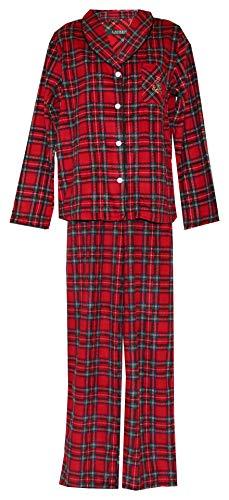 RALPH LAUREN Flannel Tartan Plaid & Leopard Pajama Set (M)