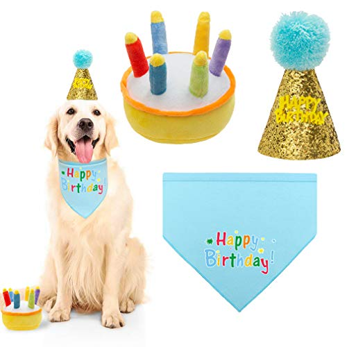 KOOLTAIL Dog Birthday Bandana with Hat&Toy Set – Squeaky Cake Chew Toy Cone Crown Triangle Scarf Pink Style for Dogs…