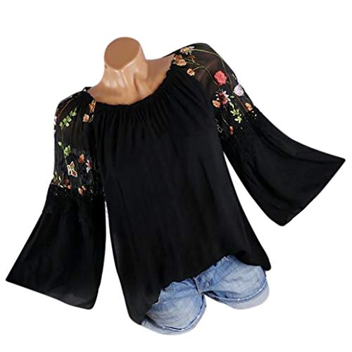 Realdo Big Promotion!Fashion Women O-Neck Blouse Floral Embroidery Lace Flare Sleeve T-Shirt Tops(XXXXX-Large,Black) -