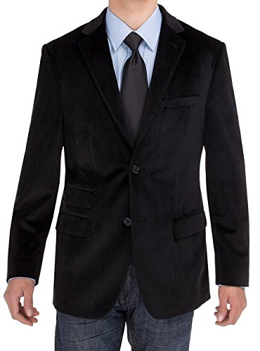 - SE SALVATORE EXTE Men's 2 Button Velvet Blazer, Black 52 Regular US/62R EU