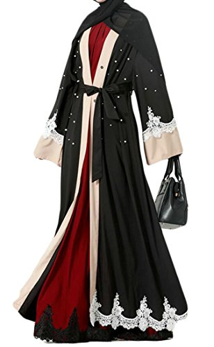 Wofupowga Women Dubai Loose Fit Fashion Muslim Abaya Saudi Arabia Beaded Islamic Dresses Black L