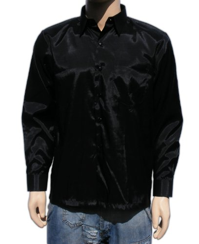 Men 39 s thai silk shirt long sleeved sleeves in black for Mens silk shirts amazon
