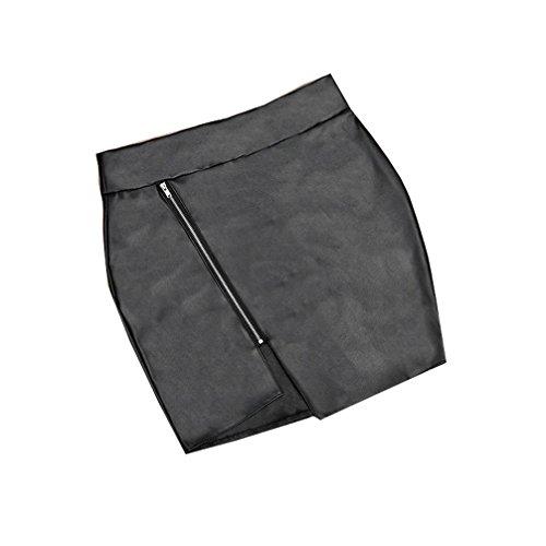 Femme Cuir Sexy en Jupe Package Hanche Slim Mini PU Go Noir Zipp Beauty 51qxFE8wW