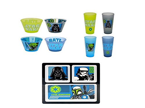 Star Wars 9 Piece Melamine Divided Plate, Bowls and Cups Set