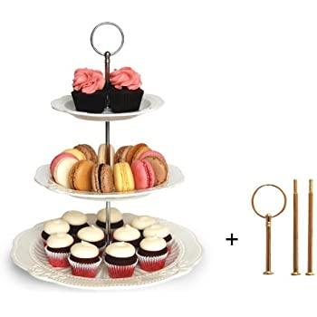 Interchangeable 2 or 3 Tier Cake Cupcake Dessert Display Stand - Perfect for Entertaining - Elegant Serving Platter Includes Silver and Gold Hardware  sc 1 st  Amazon.com & Amazon.com | Klikel 3 Tier Round Serving Tray Platters Appetizer or ...