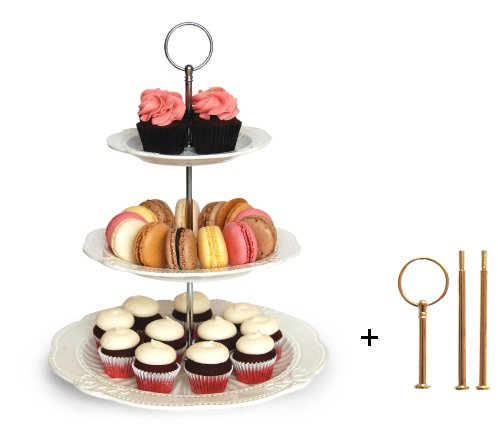 Vintage Sandwich Tray - Interchangeable 2 or 3 Tier Cake Cupcake Dessert Display Stand - Perfect for Entertaining - Elegant Serving Platter Includes Silver and Gold Hardware