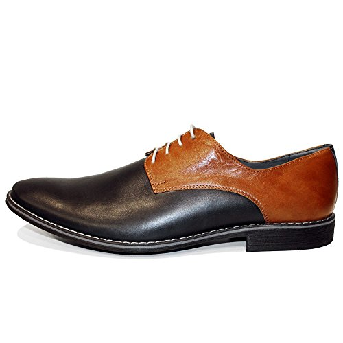 acd443a57651 Modello Pepperito - Handmade Italian Mens Brown Oxfords Dress Shoes -  Cowhide Smooth Leather - Lace