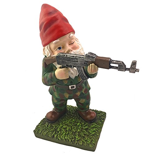 Military Garden Gnome With An AK47 | Funny Army Statue, Perfect For Gun Lovers, Military Collectors, Combat Enthusiasts & Army Men | Indoor & Outdoor Lawn Yard Decor (Standing, Camo)