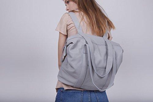 Unique Light Grey Leather Big Travel Carry-On Reversible Shoulder Handbag Backpack