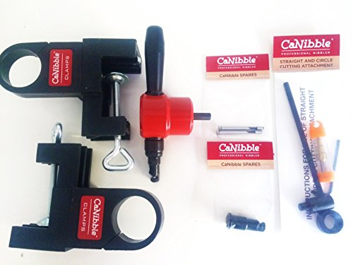 CaNibble BUNDLE - Professional Nibbler, Bench mounting clamps, replacement punches, replacement die and a straight and circle cutting attachment. by CaNibble (Image #1)