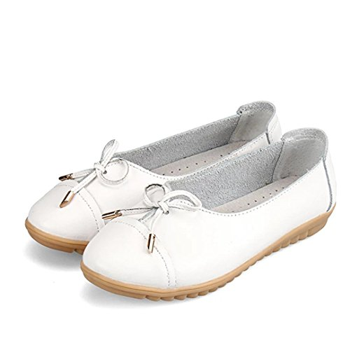 Dear-Queeen Women Comfortable Leather Lace-Up Loafers Flats Pumps White Xt0bJwsvd