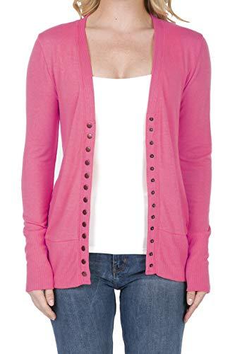 2039 Women's Button Down Long Sleeve Knit Cardigan Sweater Fuchsia S ()