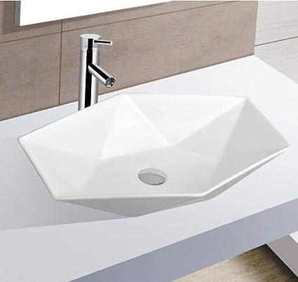Lavandino Piccolo Per Bagno.Lavabo Da Appoggio In Ceramica Lavandino Da Bagno Piccolo Disegno Del Diamante Bianco 56 5x36 5