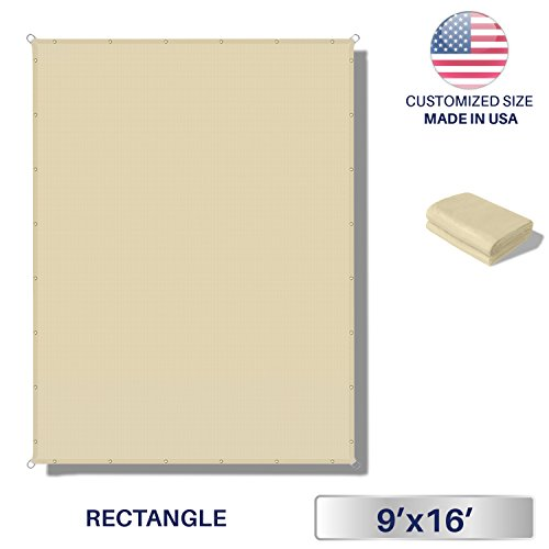 Windscreen4less 9'x16' Waterproof Sun Shade Sail Canopy Rectangle Sail Awning Tarp UV Shelter for Outdoor Patio Backyard - Custom Size Available - Beige Color by Windscreen4less