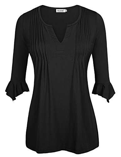 Womens Tops and Blouse, Ninedaily Cuffed Sleeve Boatneck Dolman Asymmetrical Tops Sheer Fancy Tunic Shirts for Leggings Color Black Size M