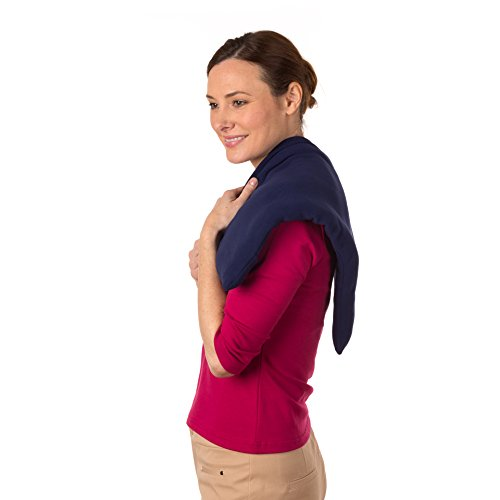 Sunny Bay Body Heating Wrap, Rice Filled, Washable Navy Blue Fleece Cover, X-Large