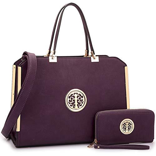 Fashion Women's Handbags Vegan Leather Satchel Purse Shoulder Bag Wallet - Handbags Purple Leather Deep