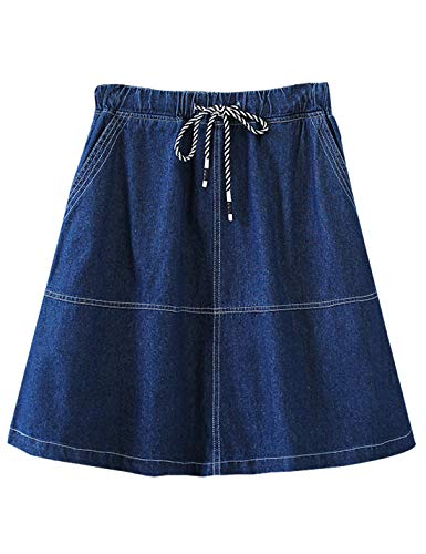 - Gihuo Women's Casual Elastic Waist A-Line Denim Jean Skirt (Dark Blue, XX-Large)