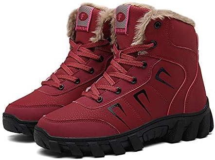 男性女性冬のハイキングブーツ、裏地の靴ホットファッションハイキングブーツの靴ホット毛皮ハイキング興味の冬の雪はわずか