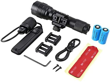 SXFJF 2 in 1 Led Torch, Rechargeable Outdoor Helmet Tactical Flashlight Flashlight Built-In 2 * 1700Mah Lithium Battery, for Camping, Fishing, Outdoor