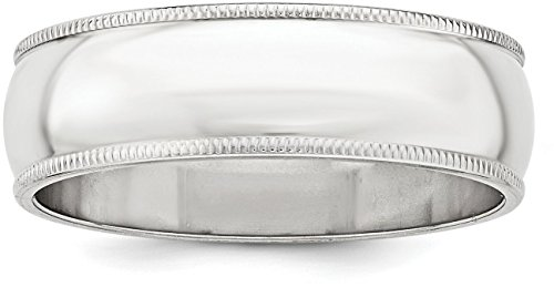 Sterling Silver 8mm Plain Half Round Classic Wedding Band with Double Milgrain Edge - Size 10 (Band Satin Plain)