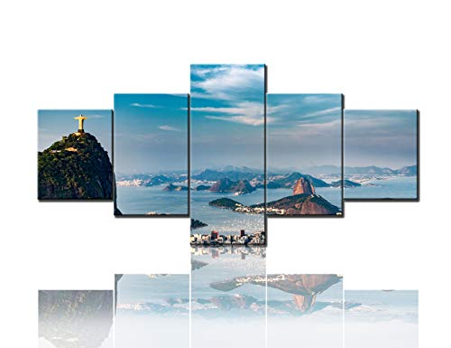 Native Latin American Wall Art Jesus Christ Pictures Christ Redeemer and Corcovado Mountain Paintings 5 Piece Canvas Artwork Home Decor for Living Room Framed Stretched Ready to Hang(50''Wx24''H)