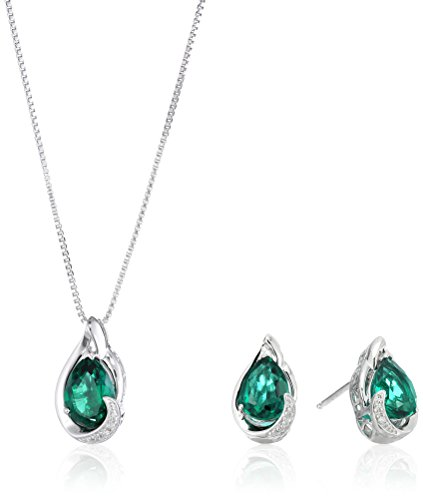 Sterling Silver Created Emerald with Diamond Accent Pear Drop Earrings and Pendant Necklace, 18'' by Amazon Collection
