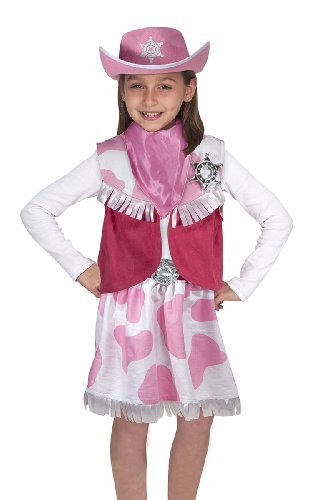 Melissa & Doug Cowgirl Role Play Costume Set (5pcs) - Skirt, Hat, Vest, Badge, Scarf (Cow Costume For Kids)