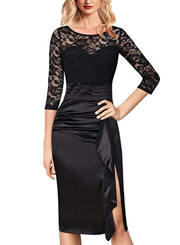 (VFSHOW Womens Elegant Floral Lace Ruched Ruffles Cocktail Party Sheath Dress 1577 BLK S)