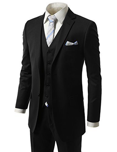 MONDAYSUIT Men RegularFit Striped 3Piece Suit Blazer Tuxedo Vest Trouser-54L 49W by MONDAYSUIT
