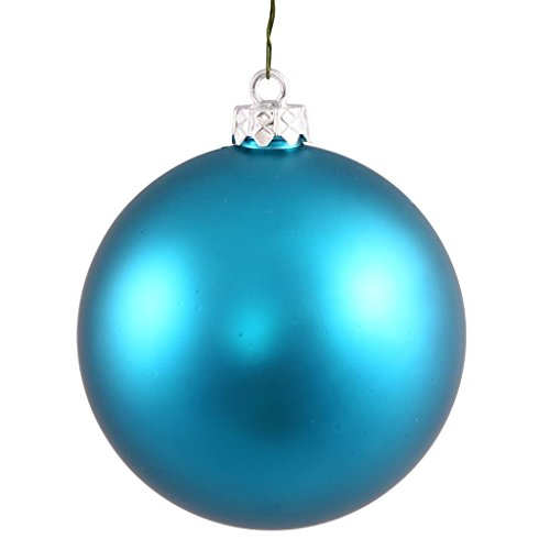 Vickerman Drilled UV Matte Ball Ornaments, 2.75-Inch, Turquoise, 12-Pack