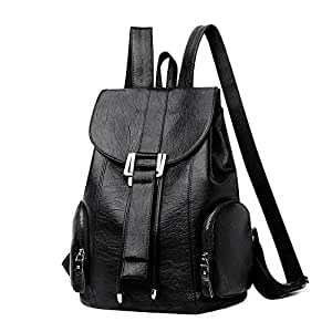 AMAZACER Women's Backpacks Leather Backpacks Large Capacity Casual Women's Bags Leather Travel Bags Bucket Bags Men's Bags (Color : Black, Size : Medium)