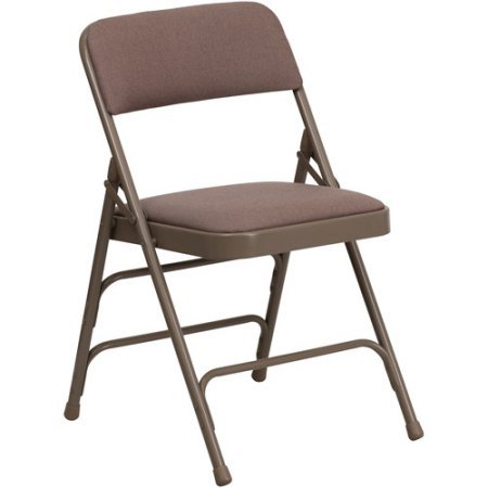 A Double Hinged Fabric Padded Folding Chair - 4-Pack, Comfortable Set of Four Chairs, Made of Steel, Beige Finish, Tripple Braced Frame, Home Furniture, BONUS E-book by Best Care LLC