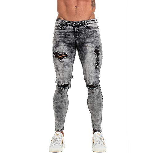 (DATAIYANG Pants Men Skinny Jeans Men Grey Distressed Denim Ripped Stretchy Jeans Stonewashed 28-36,Grey,30)