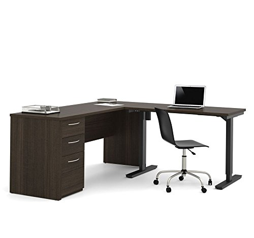 Embassy Reversible L-Desk with Adjustable Height Return Dark Chocolate/Black Frame Dimensions: 71.1