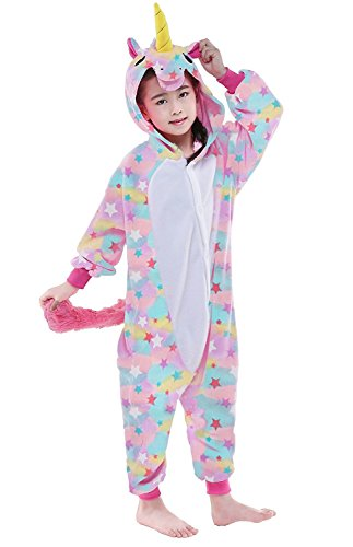 CANASOUR Kids Unicorn Onesie Animal Unisex Pajamas Children (4-10T) (125#(Size 10), Star Unicorn)