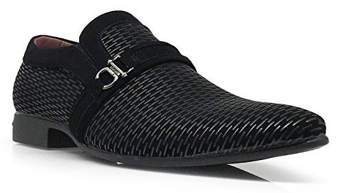Enzo Romeo Plum05 Heren Jurk Instappers Elastische Slip-on Met Gesp Mode Schoenen Zwart / Zwart