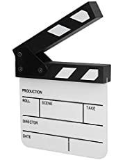 Mini Movie Film Clap Board,Durable Acrylic Waterproof Director Scene Clapperboard with Inside Magnet and Pen,for Shoot Props/Home Decoration/Cosplay/Background(White/Black)