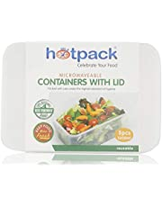 Hotpack Disposable Rectangular Microwaveable Container with Lid- 1000Ml - 5 Pcs