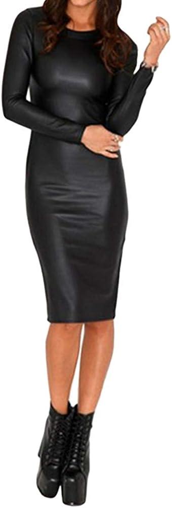 Minetom Vestido de Cuero para Mujer Moda Manga Larga Bodycon Vestidos Clubwear Fiesta Cóctel Noche Club Nocturno Dress