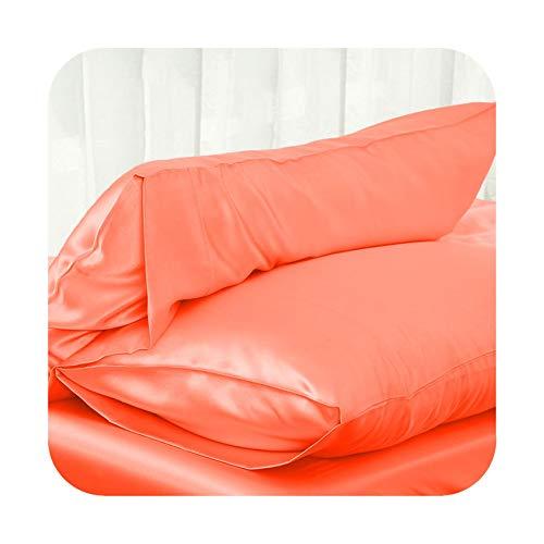 Amazon.com: Solid Color Satin Silk Pillow Case Soft