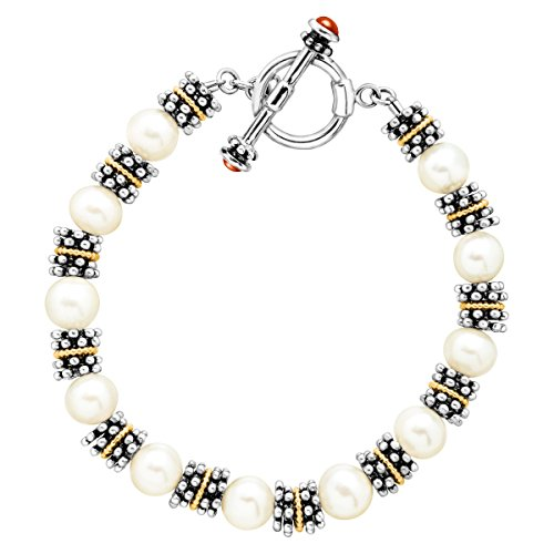 8 mm Freshwater Cultured Pearl Bead Toggle Bracelet in Sterling Silver & 14K Gold