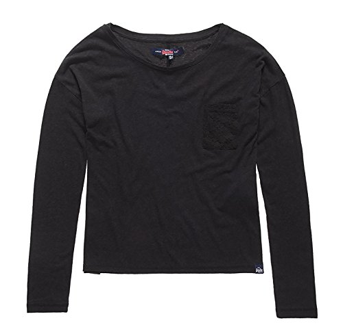 SUPERDRY Viscose Neppy L/S TEE, Top para Mujer Negro (Black02A)