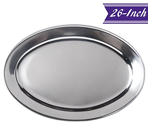 26-Inch Stainless Steel Serving Platter, Large Oval Platter by Tezzorio, Commercial Grade Oval Platters and Trays, Great for Parties